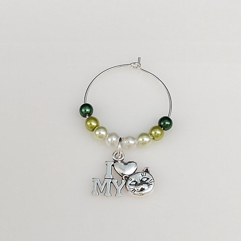 Ombre Style Pearls w/ I Love My Cat Wine Glass Charm Ring, Marker 6 Color Options - deelytes-com