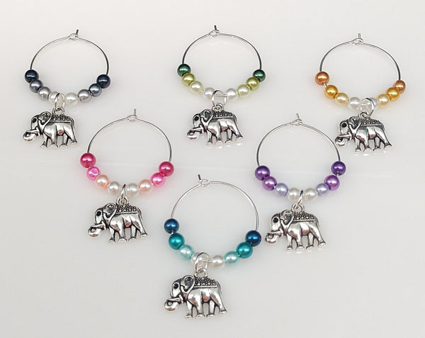 Tibetan Elephant Wine Glass Charm Ring, Marker, 6 Color Options, 1pc