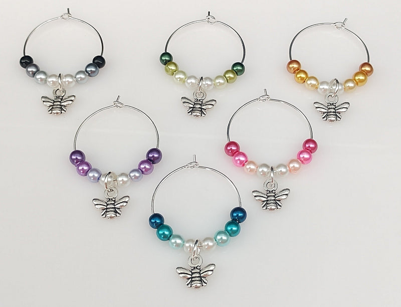 Bumble Bee Wine Glass Charm Ring, Marker, Ombre Design, 6 Color Options