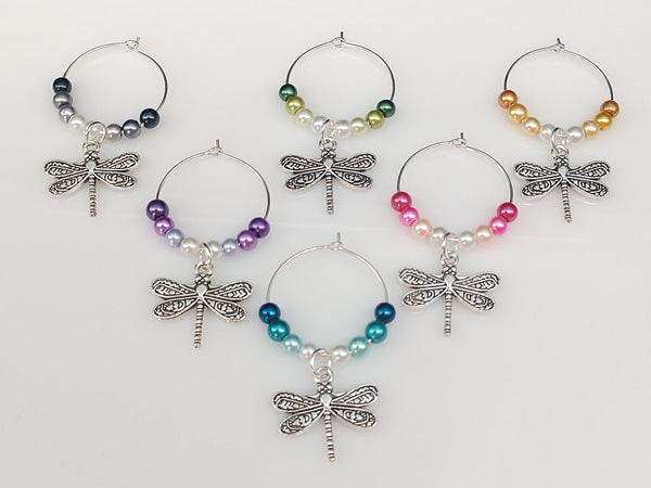 Dragonfly Wine Glass Charm Ring, Marker Ombre Style Pearls, 6 Color Options