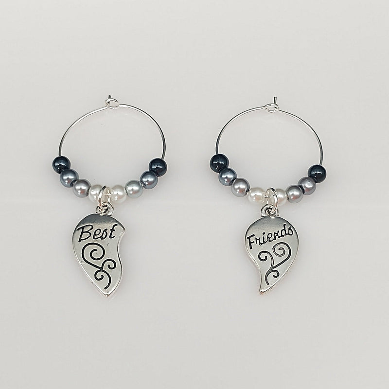Best Friends Split Heart Wine Glass Charm Ring, Markers Color Options Available - deelytes-com