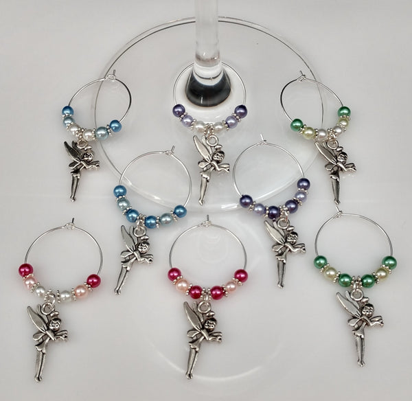 Fairy Wine Glass Charm Rings, 2 or 4pc Set I love Fairies, Fairy Dust, 5 Options