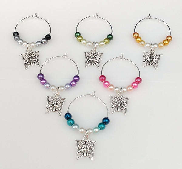 Butterfly Flutterby Wine Glass Charms Ring, Marker, 6 Color Options