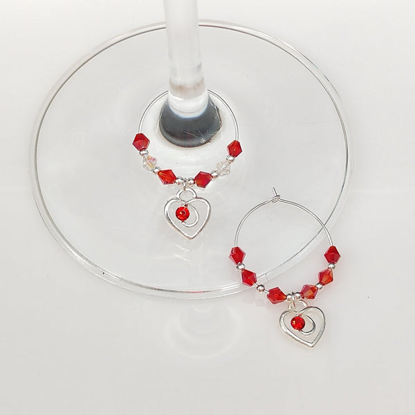 Lovers Heart w/Crystal Wine Glass Charm Ring, Marker, 2pc Set,