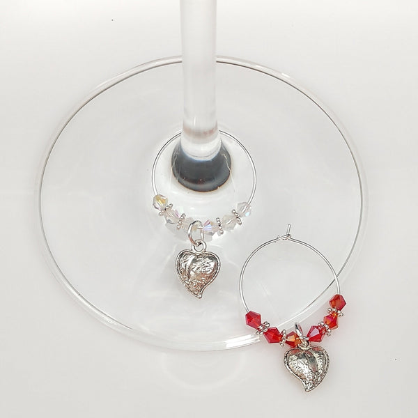 Lovers Heart Wine Glass Charm Ring, Marker, Be My Valentine, 2pc Set