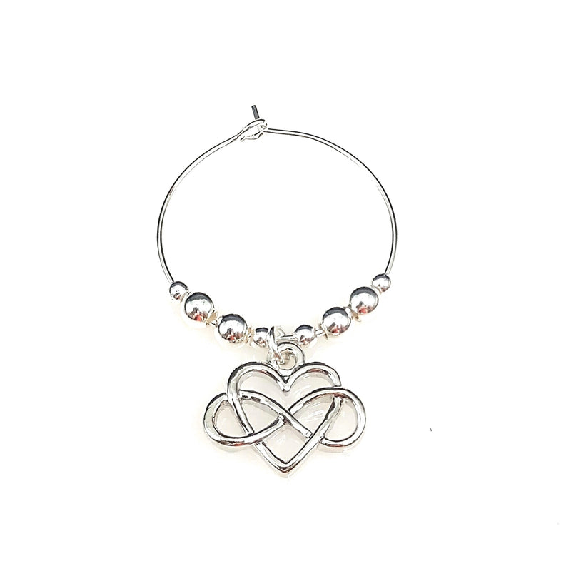Heart Infinity Sign Wine Glass Charm Ring, Love You To Infinity & Beyond 2pc Set