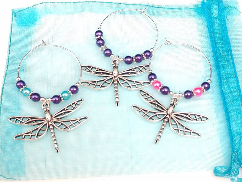 Dragonfly Wine Glass Charm Ring, Marker, 3pc Set, 3 Set Options - deelytes-com