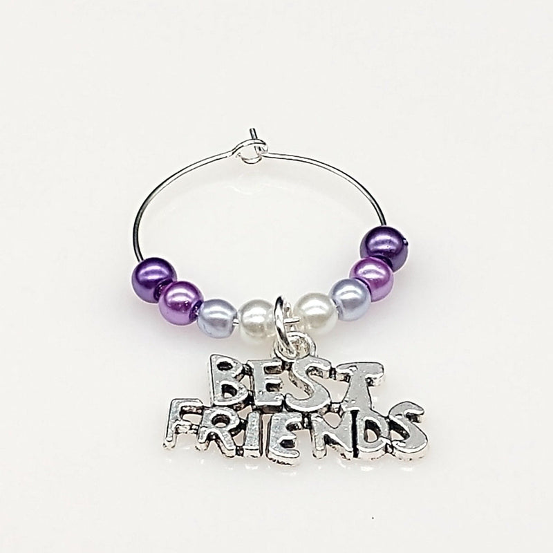 Best Friends Wine Glass Charm Ring, Marker, Ombre Design, 6 Color Options