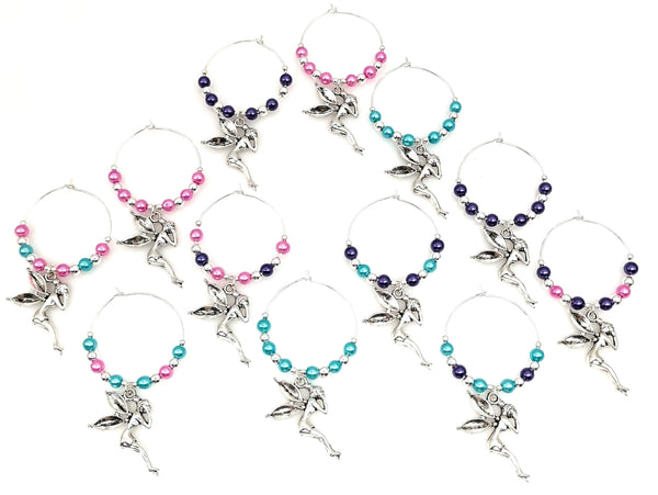 Fairy Wine Glass Charm Rings, I love Fairies, 4 Color Options, 3pc Set,