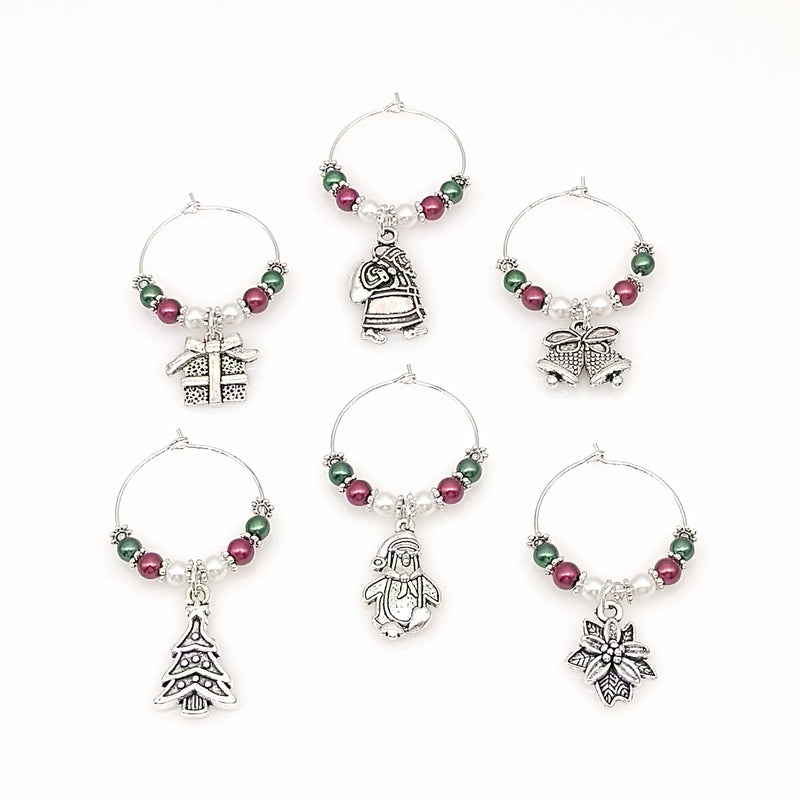 Christmas Themed Wine Glass Charm Rings, Marker 6pc Set, Silver 12 Color Options