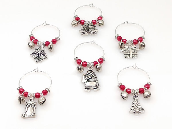 Christmas Themed Jingle Bells Wine Glass Charm Ring, Red & White Pearl, Set 6pc