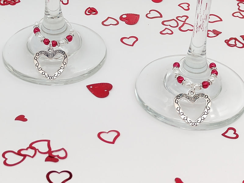 Heart Wine Glass Charm Ring, Marker, 2pc Set, Red & White Pearls, Rhinestones