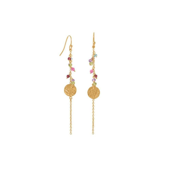 14 Karat Gold Plated Multi Bead And Disk Earring Earrings