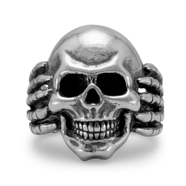 Sterling Silver Oxidized Gothic Skull Ring - deelytes-com