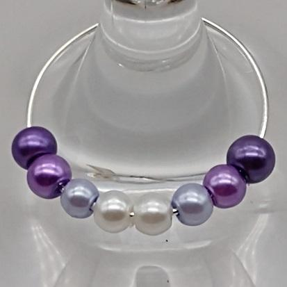 Ombre Style Pearls w/ I Love My Dog Heart Wine Glass Charm Ring, Marker 6 Color Options - deelytes-com