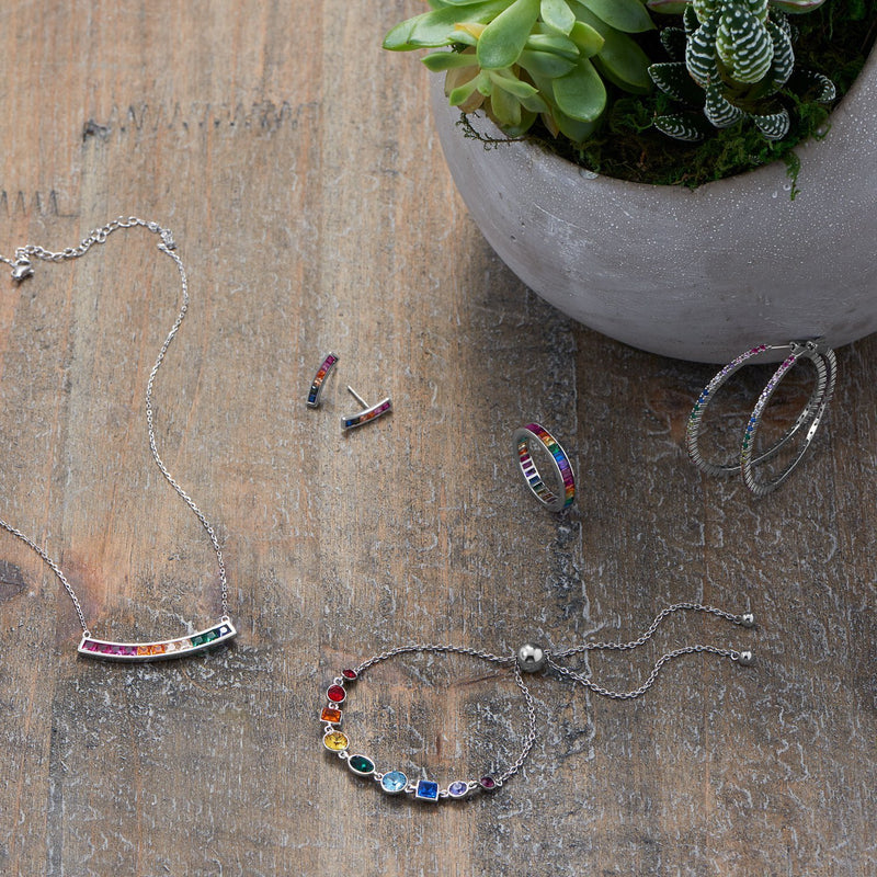 Sterling Silver Rainbow CZ Earrings - deelytes-com