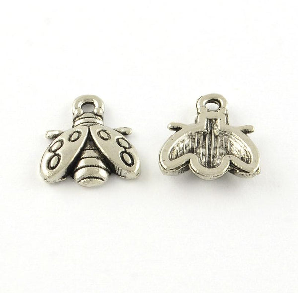 Ladybug With Open Wings Charm Silver Lot 20pcs - deelytes-com