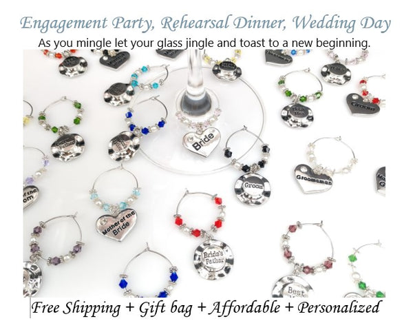Wine Glass Ring Heart & Top Hat Wedding Charm Favor, Rehearsal Dinner Engagement