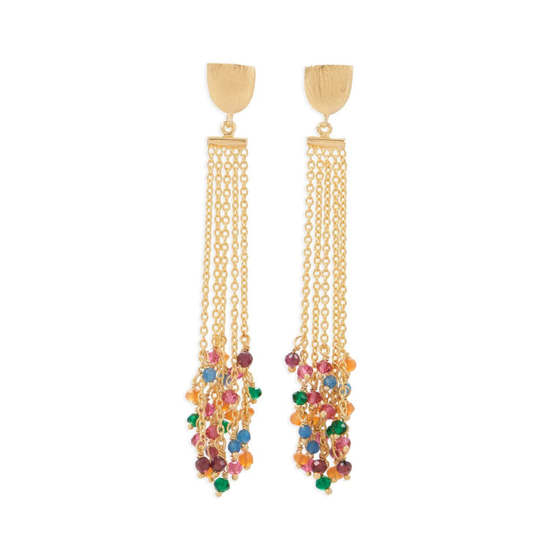 Gold Brass Multi-Color Fashion Earrings - deelytes-com