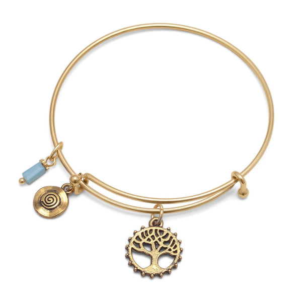 Expandable Gold Tone Tree Charm Fashion Bangle Bracelet - deelytes-com