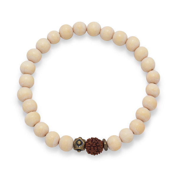 White Wood Bead Stretch Fashion Bracelet - deelytes-com