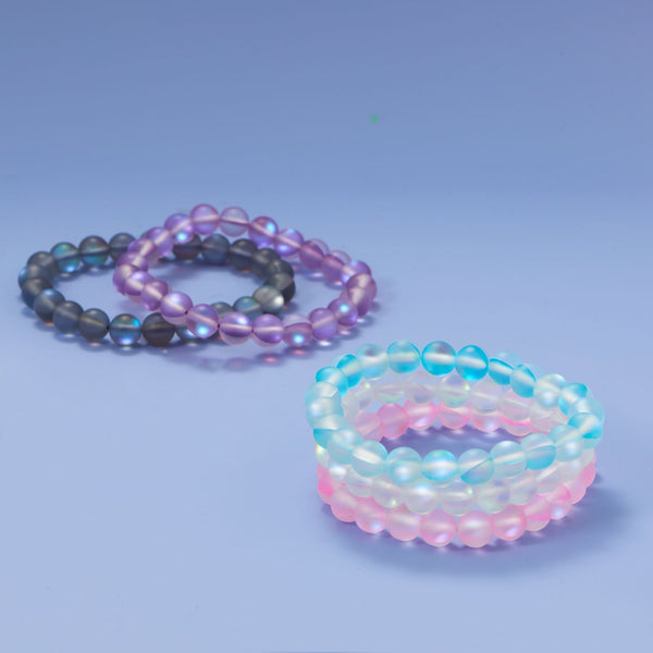 Think Pink! Iridescent Glass Stretch Bracelet - deelytes-com