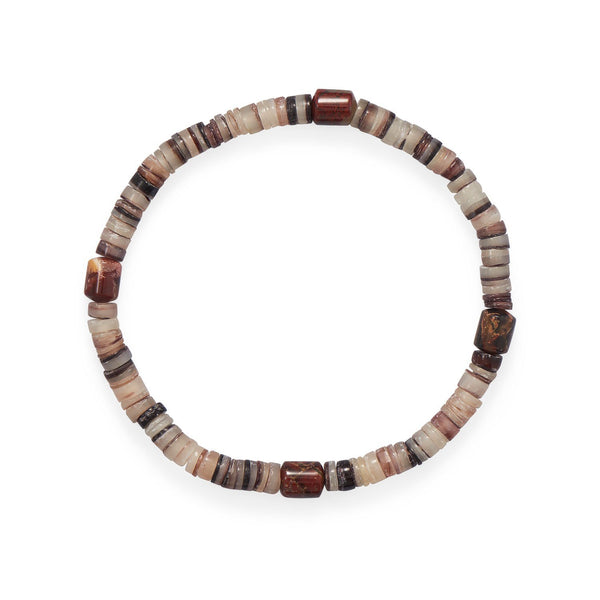 "8"" Shell Heishi and Jasper Stretch Bracelet - deelytes-com"