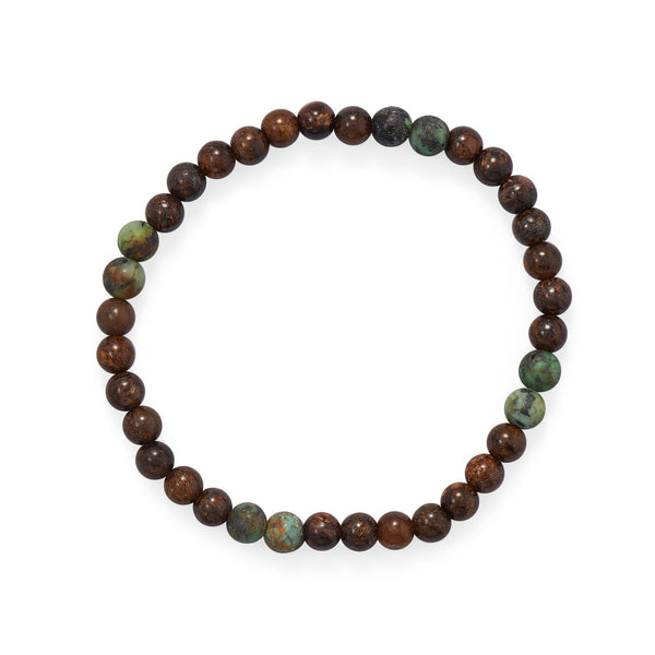 "8"" Bronzite and African Turquoise Stretch Bracelet - deelytes-com"