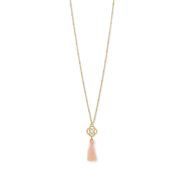 Gold Tone Celtic Charm and Peach Tassel Necklace - deelytes-com