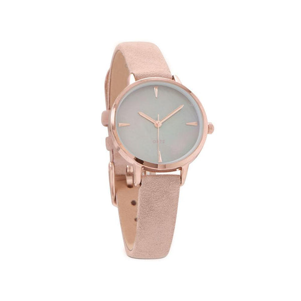 Blush Suede Rose Tone Fashion Watch - deelytes-com