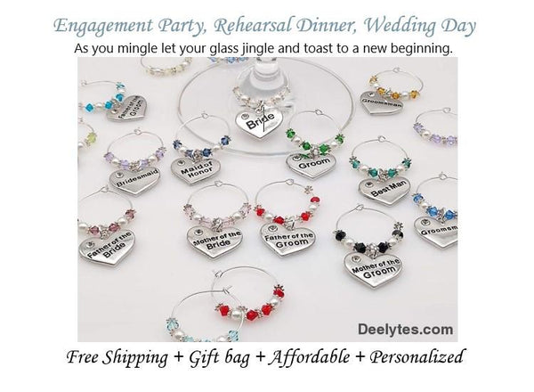 Wine Glass Ring, Heart Wedding Charm, Favor, Champagne Markers 7 Color Options - deelytes-com
