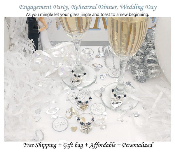 Wedding Wine/Champagne Glass Charm Ring/Marker, Favor, 7 Color Options