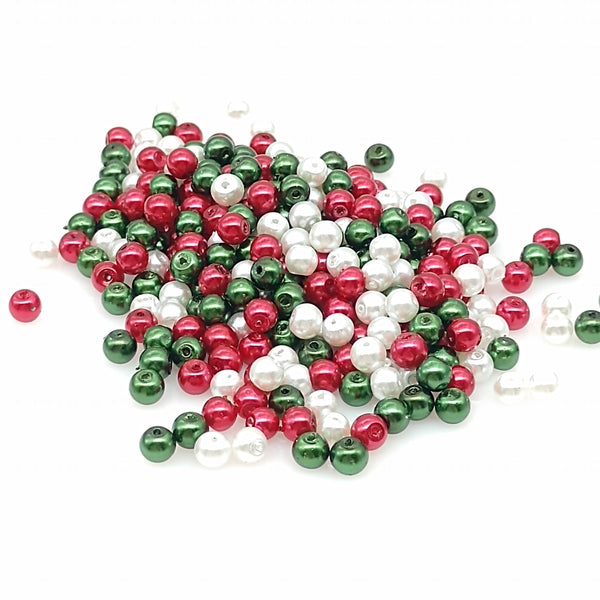 Christmas Colors Green Red White Czech Glass Pearl Round Beads 4mm, Grade AAA