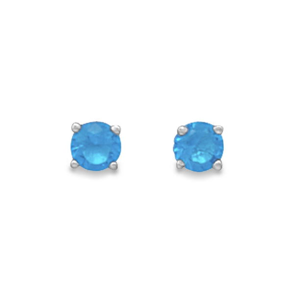 Blue Topaz Sterling Silver Stud Earrings - December Birthstone - deelytes-com