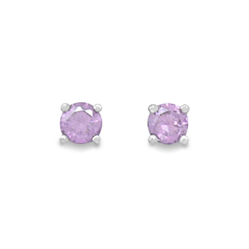 Amethyst-February Birthstone Sterling Silver Stud Earrings - deelytes-com