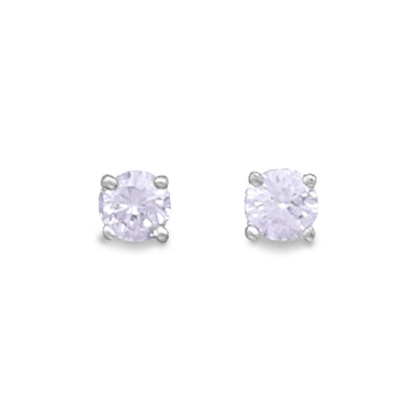 5mm Lavender CZ Sterling Silver Stud Earrings - deelytes-com