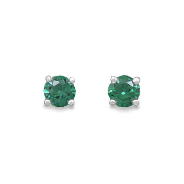 May Birthstone Sterling Silver Stud Earrings - deelytes-com