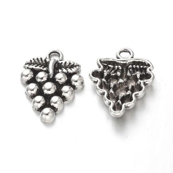 Grapes Antique Silver Pendant Charm 20x15x3mm, Hole: 2mm, Lots of 10 or 20 - deelytes-com