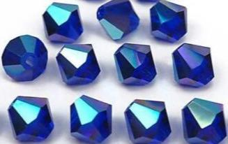 500pcs AB Saphire Blue Glass Crystal Bicone (12 Facets) 4mm Bead - deelytes-com