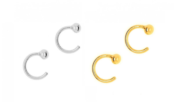 Open C Hoop Earring Cuff Earring Nail Ring Open Nose Ring 10pc Set Gold Or Silver - deelytes-com