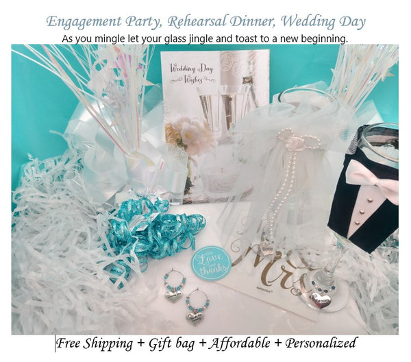 Wedding Day, Thanks For Coming, Wedding Favor, Wine Glass Ring, 10 Color Options