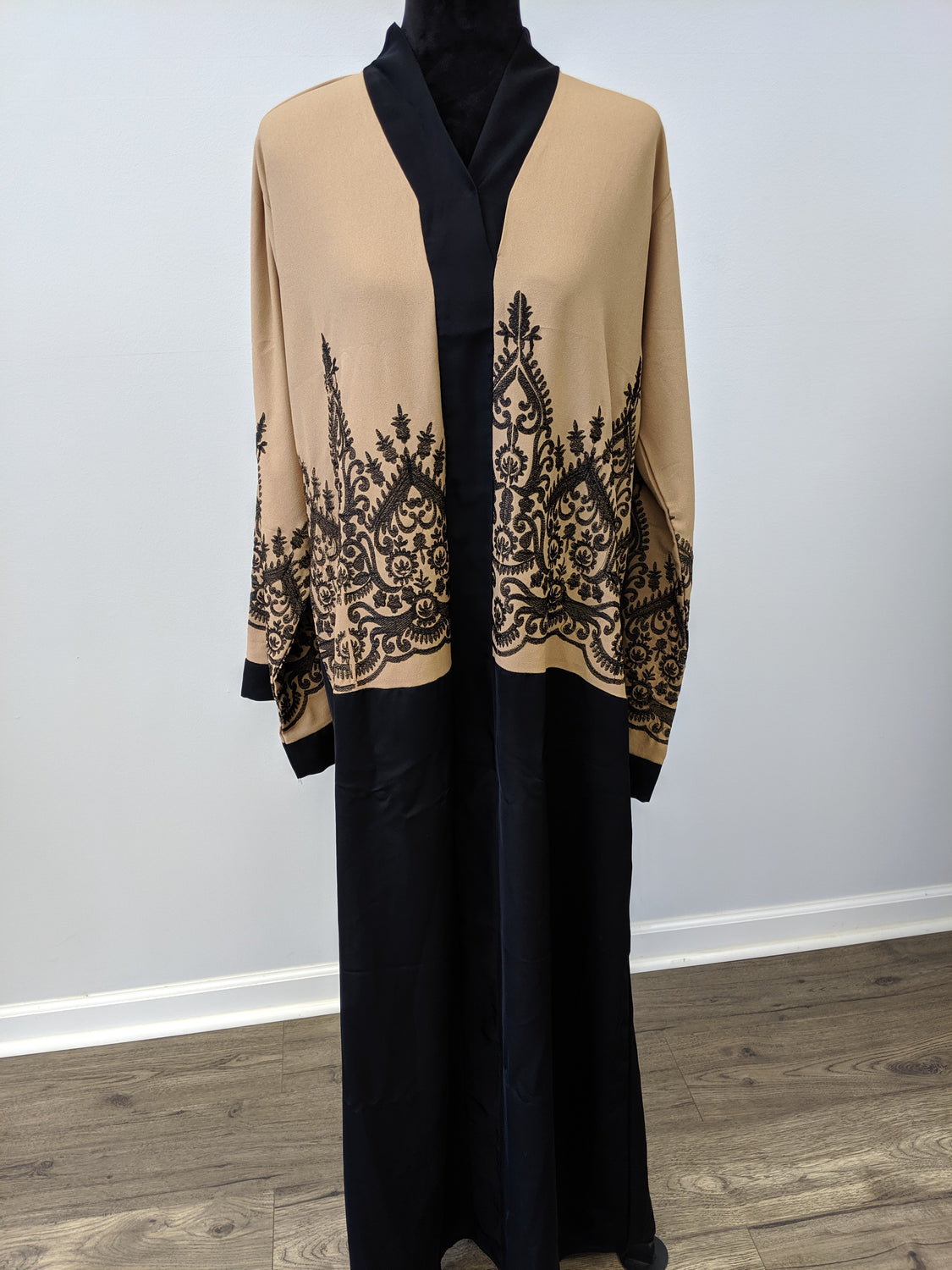 Camel & black embroidered abaya