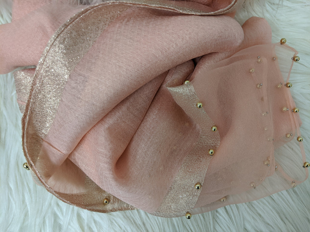 Gold Beaded Tulle Hijab