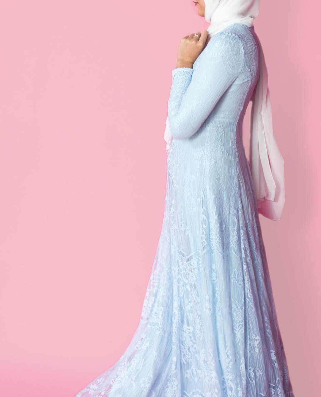 Sky Blue Lace Gown