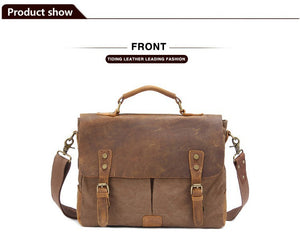 Vintage Real Leather Canvas Bags 14 inch Laptop Bag Retro Style Cross Body Messenger