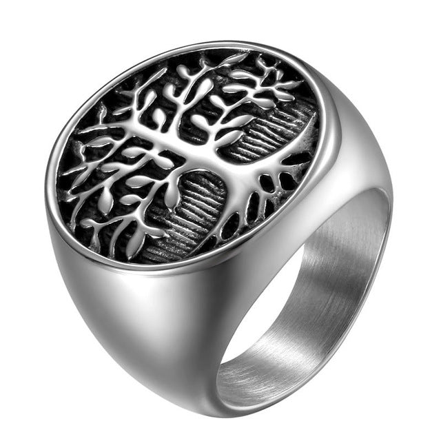 Men Silver Tree Of Life Ring Casting Stainless Steel Life Tree Rings