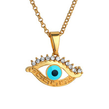Cubic Zirconia Evil Eye Pendant Necklace Blue Turkish Amulet Jewelry