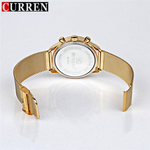 Mens Watches Top Brand Luxury Gold Mesh Strap Quartz Watch Men Casual Sport