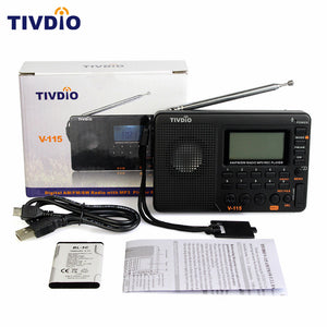 V-115 Radio FM/AM/SW World Band Receiver MP3 Player REC Recorder With Sleep Timer