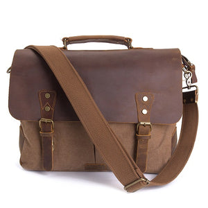 15.6 inch Leather Vintage Messenger shoulder Bag for Men and Women Laptops Bag